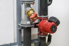 Modern boiler room equipment stock photography