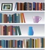Modern bookshelf. Vector modern bookshelf with books and other objects Stock Illustration