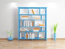 Modern bookshelf. Modern interior composition with a blue bookshelf. 3d rendered Stock Photography