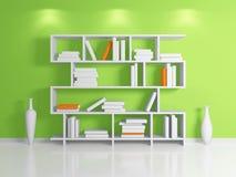 Modern bookshelf. Modern interior composition with a white bookshelf. 3d rendered Stock Photo