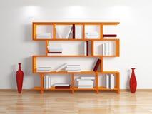 Modern bookshelf. Isolated on white background.3d rendered illustration Stock Images