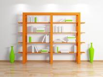 Modern bookshelf. On white background.3d rendered illustration Stock Photography