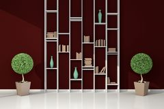 Modern bookshelf. 3d rendered modern interior composition with simple bookshelf Stock Image