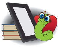 Modern Bookworm. Young bookworm is enjoying his E reader royalty free illustration