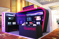 Modern booth design. In exhibition, communicasia booth 2013 Quantel booth stock photos