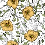 Modern botanical background. Hand drawn vector illustration. Folk flowers. Seamless floral pattern. Folk flowers. Seamless floral pattern. Modern botanical stock illustration