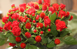 Modern bouquet of roses and berries. Modern bouquet of red roses and red berries Stock Images