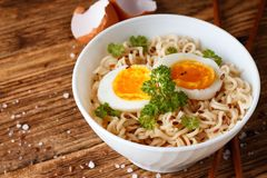 Modern bowl full of chinese noodles royalty free stock image