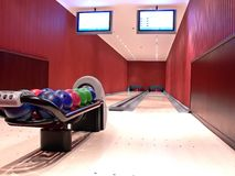 Modern bowling alley. Interior of modern bowling alley Stock Images