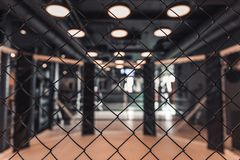 Modern boxing ring. In the gym, lights on the ceiling are turned on, net in the foreground in focus royalty free stock photo