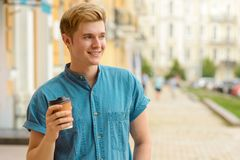 Portrait of a modern boy in the street stock photos