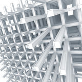 Modern braced construction on white background. 3d architecture light blue monochrome abstract. Modern white braced construction on white background stock illustration