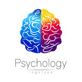 Modern Brain logo of Psychology. Human. Creative style. Logotype in vector. Design concept. Brand company. Blue violet Stock Images
