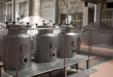 Modern brewery. Capacities for malt loading Stock Photo