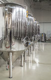 Modern brewery with stainless steel tanks Royalty Free Stock Photos
