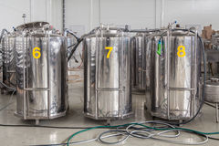 Modern brewery with stainless steel tanks Stock Photo