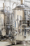 Modern brewery with stainless steel tanks Royalty Free Stock Image