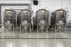 Modern brewery with stainless steel tanks Stock Images