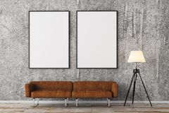 Modern brick living room with empty frames Stock Photos