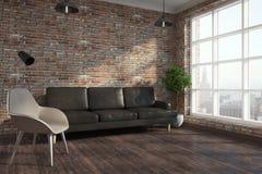 Modern brick living room royalty free illustration