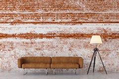 Modern brick living room stock illustration