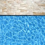 Modern brick pavement with pool edge Stock Photography