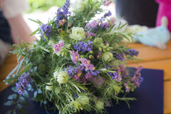 Modern bridal bouquet. Modern woman chooses simple and even organic wedding bouquet Stock Image