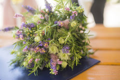 Modern bridal bouquet. Modern woman chooses simple and even organic wedding bouquet Royalty Free Stock Images