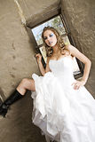 Modern Bride in boots Stock Photography