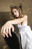 Modern Bride in white with guitar Royalty Free Stock Photography