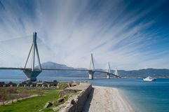 Modern Bridge. One of the latest bridges in Greece Royalty Free Stock Photo