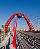 Modern bridge. The new unique bridge in Moscow, Russia Stock Photos
