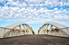 Modern Bridge against a Nicely. Ponte della Musica, a modern bridge in the heart of Rome, Italy royalty free stock images