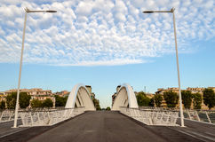 Modern Bridge against a Nicely. Ponte della Musica, a modern bridge in the heart of Rome, Italy stock image