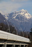 Modern bridge in Belluno, Dolomites , Italy. Royalty Free Stock Photo