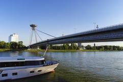 Modern bridge in Bratislava Stock Photography