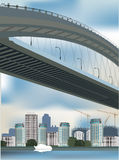Modern bridge in city illustration Royalty Free Stock Image
