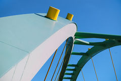 Modern bridge. Details of a modern bridge design and structure stock images