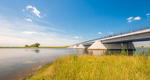 Modern bridge in a Dutch nature reserve Royalty Free Stock Images