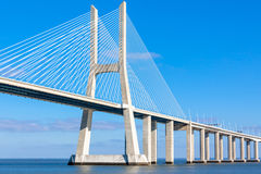 Modern bridge fragment: white against bright blue Royalty Free Stock Image