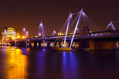 Modern bridge in London UK at night Royalty Free Stock Image