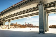 Modern bridge through a Moskva River Royalty Free Stock Image