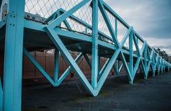Modern Bridge near city beach in Hague, evening time Stock Photos