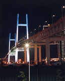 Modern bridge at night. Low angle view of modern urban suspension bridge illuminated at night Stock Photography