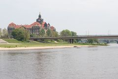 A modern bridge over the Elbe Royalty Free Stock Images