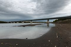 Modern bridge over Kamchatka River, Russian Far East, Kamchatka Peninsula Royalty Free Stock Images