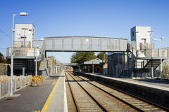 Modern bridge over the railway with turnstile Stock Photography