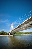 Modern bridge over the river Royalty Free Stock Images