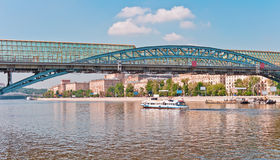 Modern Bridge over the River. Modern pedestrian bridge over the Moscow River, Moscow, Russia, East Europe Stock Images