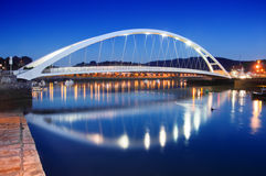 Modern bridge in Plentzia at night. Basque Country Royalty Free Stock Photography